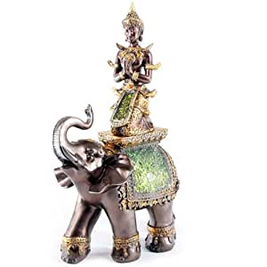 Stunning Large Thai Buddha Riding Elephant Ornament Figure