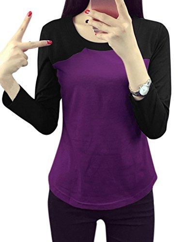 sourcingmap Femme Bloc De Couleur Slim Fit T-Shirt Pourpre