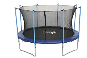 advendise trampolin 366 cm mit sicherheitsnetz bis 150kg schwarz blau 366 cm sport. Black Bedroom Furniture Sets. Home Design Ideas