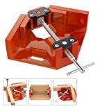 Housolution Right Angle Clamp, Single Handle 90°Corner Clamp, Aluminum Alloy Right Angle Clip Clamp Tool Woodworking Photo Frame Vise Holder with Adjustable Swing Jaw - Orange