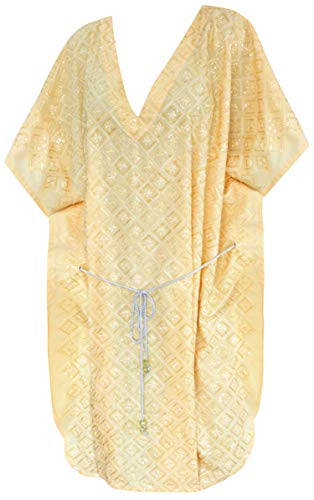LA LEELA Frauen Damen Rayon Kaftan Tunika Bestickt Kimono freie Größe kurz Midi Party Kleid für Loungewear Urlaub Nachtwäsche Strand jeden Tag Kleider Gelb_S58