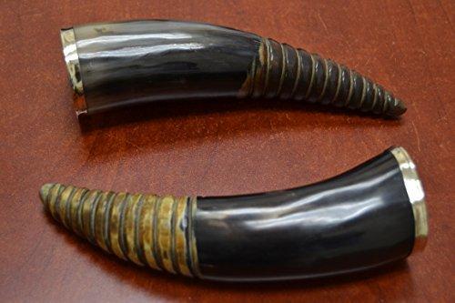 2 Pcs Swirl Black Smooth Water Buffalo Horn Drinking Cup 8 - 9 by MyGANN