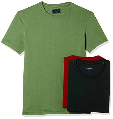 Peter England Men's T-Shirt (8907609001006_EKC51610098_M_Medium Red with Green)(Pack of 3)