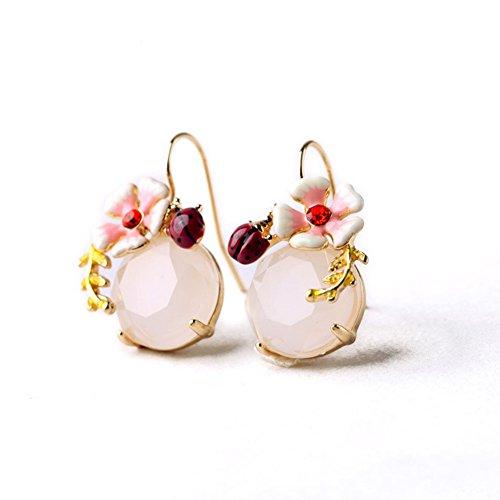 Emorias 1 Paar Ohrringe Diamanten Gold Farbe Legierung Niedlich Marienkäfer Blume Edelsteine Schmuck Ohrringe Damen Mode Schmuck Accessoires