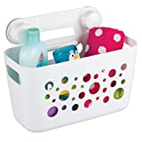 mDesign Kids/Baby Bathroom Shower Suction Caddy Basket for Bath Toys, Shampoo, Conditioner, Soap - White