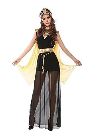 Honeystore Damen Halloween Kostüme Kleopatra und Griechischen Göttin Cosplay Karneval Allerheiligen Kleider Schwarz und (Totoro Kostüm-ideen)
