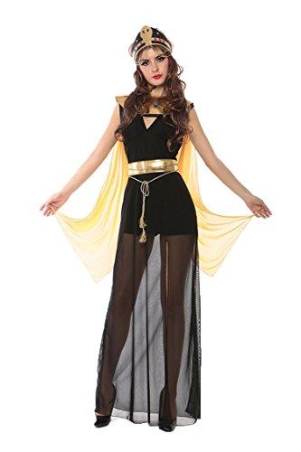 Honeystore Damen Halloween Kostüme Kleopatra und Griechischen Göttin Cosplay Karneval Allerheiligen Kleider Schwarz und Gold-02