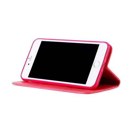 iPhone 7 Cover Pelle Portafogli con Schede Slot Magnetica Flip Chiusura Libro Stile Supporto Funzione HuaForCity® iPhone 7 Case Leather Wallet with Cards Slot Magnetic Flip Closure Book Style Support  B-Rosso
