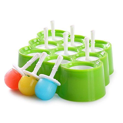 mengcore EIS/Eisform mit 9 Löchern, rund, lebensmittelecht, Kunststoff und Silikon, Obst, Saft, Milch, DIY Stiel, 1 Stück grün