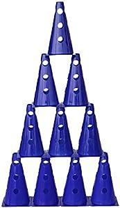 agility sport pour chiens - lot de 10 cônes avec trous, 23 cm, bleu - 10x MZK23b