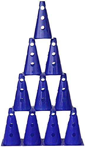 Agility Hundesport - 10er Set Mehrzweckkegel mit Loch 23 cm, Farbe: blau
