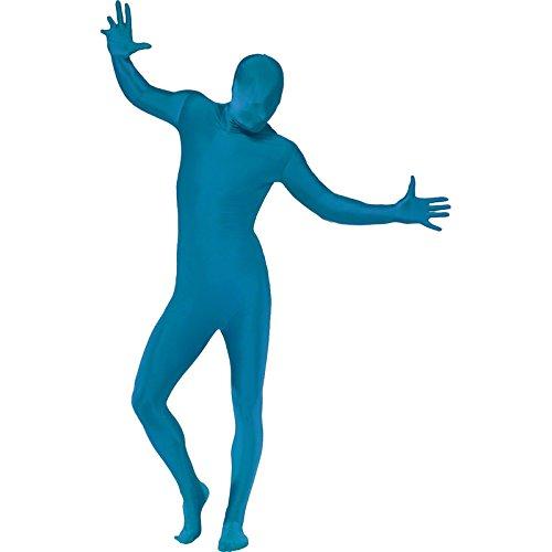 Smiffys, Herren Second Skin Kostüm in Blau, Ganzkörperanzug mit Bauchtasche, Größe: M, 21739 (Ganzkörper Anzüge Elasthan)