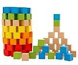 Lewo 100 bunte Bausteine hochwertiges Buchenholz Holzbausteine Babyspielzeug