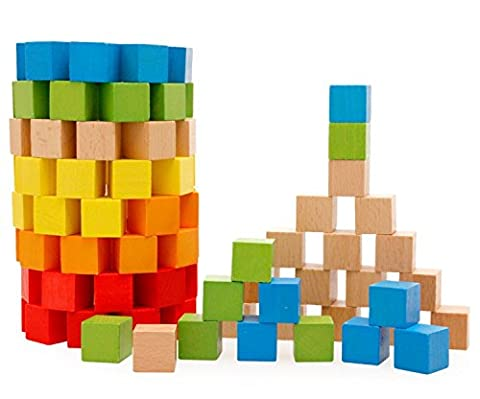 Lewo Wooden Building Blocks Set Children Educational Stacking Toys 100 (Stacking Legno)