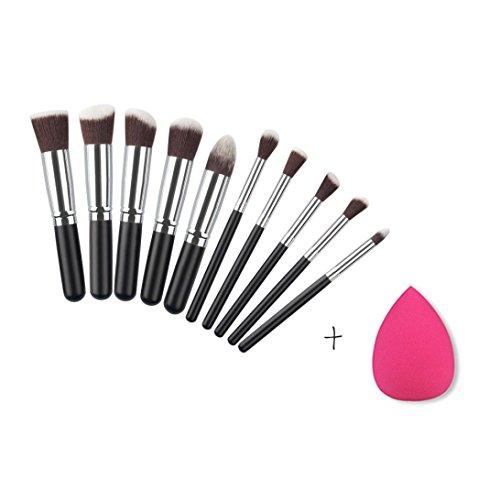 kingko® 10PCS / set brosse cosmétiques Pinceaux Foundation Powder Eyeshadow + 1 PC Éponges