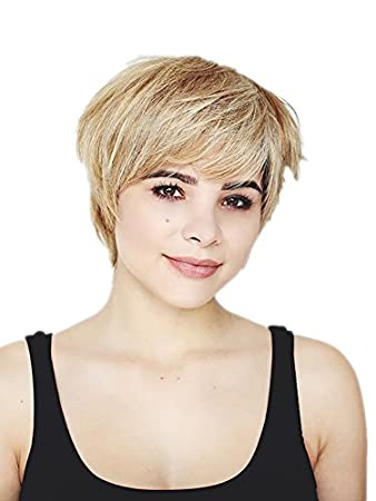 Prettyland C655 Fringed Short Hair Wig Stepped Highlights Blond Short