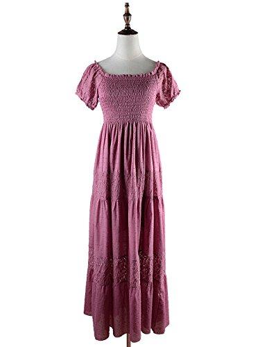 Anna-Kaci Frauen Boho Stretch Spitze Rüsche kurzarm Geschmückt Maxikleid lange Kleid Rosa