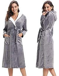 Abollria Albornoz Unisex Otoño Invierno Unisex Coral Fleece Mujer Batas Fashion Elegantes Vintage Cómodo Kimono…