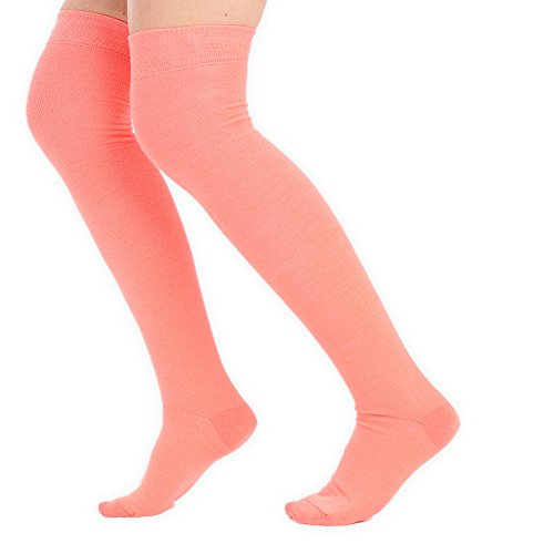 adam & eesa Womens Over the Knee Socks Stretch Thigh High Sizes UK 4-6.5 Fancy Dress Costume[Neon Orange] (Blau Hohe Socken Und Orange Knie)