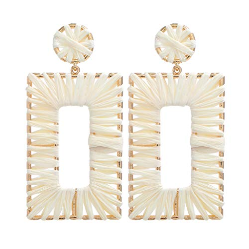 LILICAT_Schmuck Böhmisches Ohrringe Mode Rattan Handgemachte Ohrringe Bunte Rattan Creolen Anweisung Ohrringe Regenbogen geometrische Ohrringe für Mädchen Damen White Patent Slingback