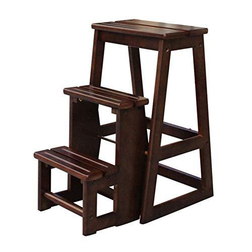 LXLA- Festes Holz Faltender 3-Schritte-Schemel, 3-Tier-Mehrzweckleiter-Schemel-Haushalts-Schemel Für Kinder, Erwachsenes Regal-Schuhregal-Blumen-Stand