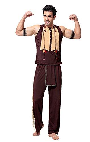 Indianer Cosplay Kostüm Herrenkostüm Jäger Wilder Kostüm Karneval Halloween Party Outfit One Size (Erwachsenen Jäger Halloween Kostüme)