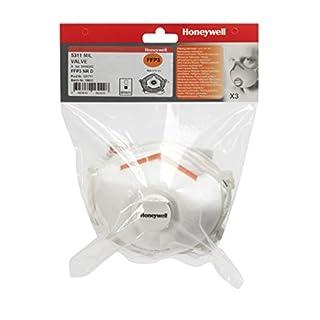 Honeywell 1016242 Single Use Mask FFP3D W Valve 5311 M/L Bag of 3 Units
