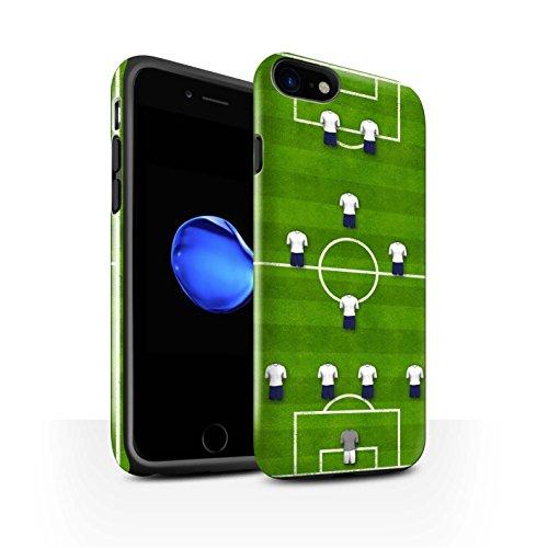 STUFF4 Glanz Harten Stoßfest Hülle / Case für Apple iPhone 8 / 4-1-2-1-2/Rot Muster / Fußball Bildung Kollektion 4-1-2-1-2/Weiß