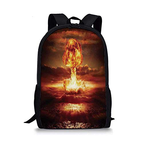 HOJJP Rucksack Country Stylish School Bag,Bomb in The Ocean Fusion Radioactive Weapon Apocalypse Illustration Print Decorative for Boys,11''L x 5''W x 17''H -