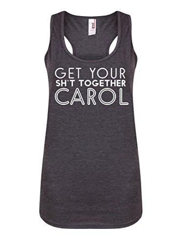 Get Your Sh*t Together Carol - Dark Grey - Women's Racerback Vest - Fun Slogan Tank Top (Medium - UK Size 10-12, w/White) (Tank Annie Top)