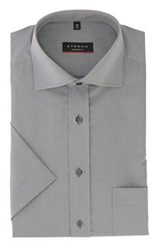Eterna Herrenhemd Kurzarm Modern Fit Grau Business Businesshemd Elegantes Herren Hemd Hemden Freizeit Baumwolle Hellgrau