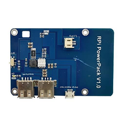 Mucjun Scheda di espansione PowerPack per batteria al litio Raspberry Pi 3 Scheda di ricarica per alimentazione mobile a doppio cavo USB 5V 1A per Raspberry Pi