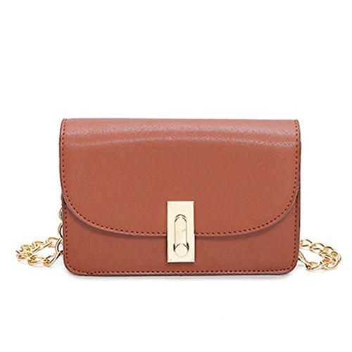 WZW Blocco mini catena di metallo Piccola Piazza Borsa a tracolla Messenger bag . brown Brown