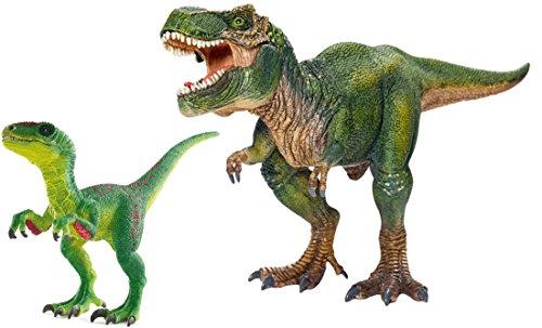 Schleich Dinosaurier-Figuren Set Tyrannosaurus Rex 14525 und Velociraptor 14530