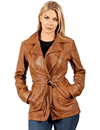 Women's Tan Nappa Leather Biker Jacket with Tie Belt