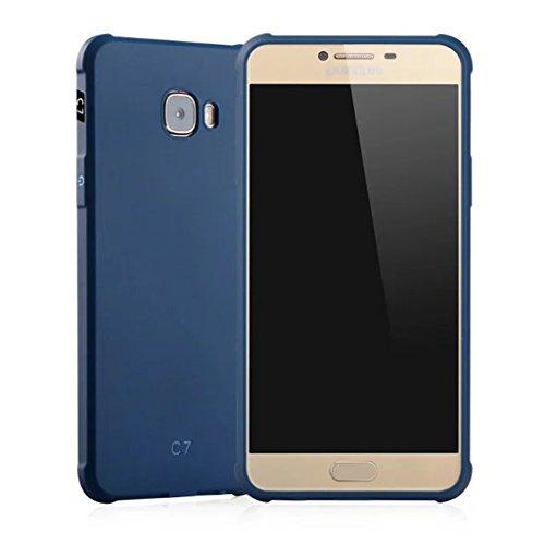 Schutzhülle Samsung Galaxy C7(C7000) Hülle, Business Serie Stoßfest Ultra Dünn Weich Silikon Rückseite Fall für Samsung Galaxy C7(C7000) (Blau) - C7000 Serie