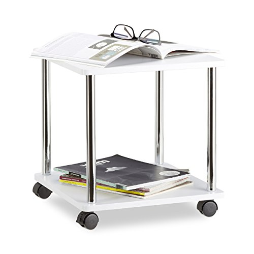 Relaxdays 10021870_187 tavolino da salotto legno carrello con ruote multiuso piccolo tavolo divano carrellino hlp 41,5x40x40 cm bianco