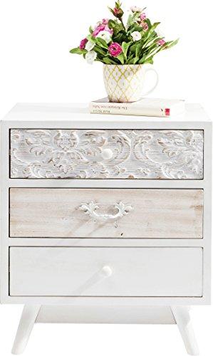 Kare Design Kommode Sweet Home, Nachttisch mit 3 Schubladen, Nachtschrank, Weiß (H/B/T)...