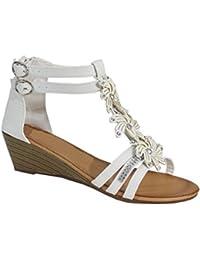 By Shoes - Sandale Compensée Style Fleuris - Femme