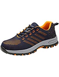 Zapatos De Seguridad Unisex Ultra Ligeros Puntera De Acero Antideslizante,Zapatos De Álcali Ácido Resistentes para Trabajos En Tierra (Seis Estilos)