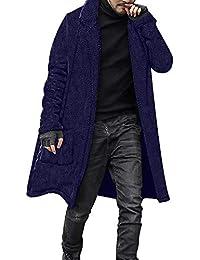 JiaMeng Moda Suelta cálida Chaqueta de Felpa Largo Peludo Abrigo de Doble Cara Tops Blusas Ropa de Abrigo Top Moda Mens Slim Diseñado Chaqueta