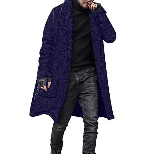 KPILP Men Langjacke Lose Windjacke Warme Übergröße Dicke Mode Plüsch Strickjacke Lange Pelzige Doppelseitige Mantel Tops Blusen Herbst Winter Outwear (Marine,EU-56/CN-XL)
