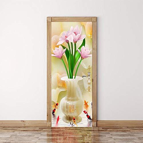 DNFurniture 3D Tür Aufkleber Chinesische Vase Koi 95X215CM Abziehbilder Kunst Vision Geschenke DIY hintergrundbilder wandbilder wandaufkleber Stereo Festivals zuhause PVC