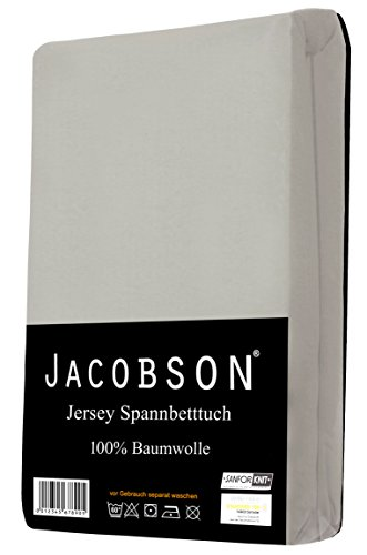 Jacobson Jersey Spannbettlaken Spannbetttuch Baumwolle Bettlaken (60x120-70x140 cm, Grau) - 2