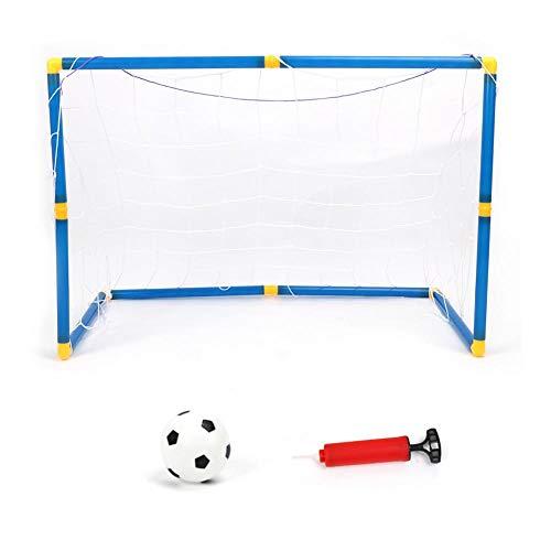 SOULONG Mini Porta da Calcio per Bambini Calcetto Pallone per Bambini per Giardino 1 Porta con reti e Palla e Pompa 90 * 60 * 47
