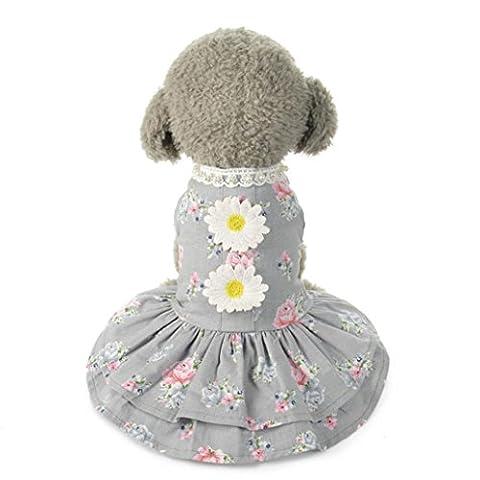 WOCACHI Hunde Sommer Kleider Hund Katze Tutu Spitze Sonne Blumenmuster Nette Kleid Haustier Welpen Hund Prinzessin Kostüm Kleidung (M, Grau)