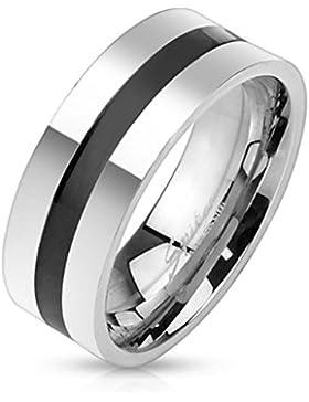 Paula & Fritz® Ring aus Edelstahl Chirurgenstahl 316L silber Basic Black Line verfügbare Ringgrößen 60 (19) 69...