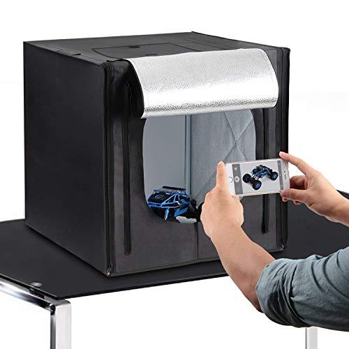Amzdeal Caja de Fotografía Caja de Luz Portátil 50 x 50 x 50 cm para Hacer Fotos con 3 Fondos(Blanco/Negro / Naranja)+ 2 Tiras de LED y Bolsa de Transporte, versión