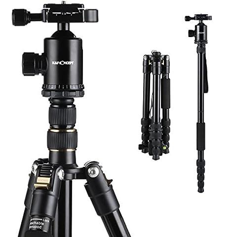 K&F Concept® TM2515 Reise Stativ Kamerastativ Fotostativ aus Aluminium mit 360° Kugelkopf und Einbeinsativ-Funktion 37,5-152cm