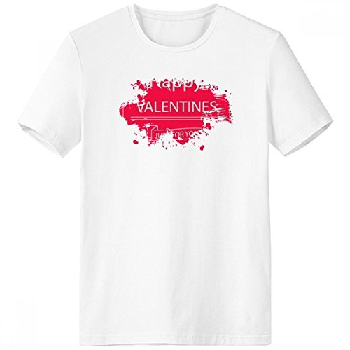 DIYthinker Happy Valentinstag Just for You rosa Herz Crossing Pfeile Banner Illustration Muster Pinsel Rundhals Weißes T-Shirt Tagless Comfort Sport-T-Shirts Geschenk - Multi - XXL -